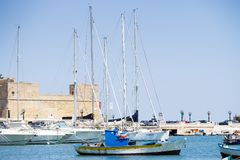 BARI, ITALY - JULY 11,2018, Boats in the port in the center of Bari stock image