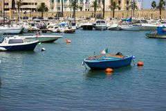 BARI, ITALY - JULY 11,2018, Boats in the port in the center of Bari stock photo