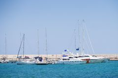 BARI, ITALY - JULY 11,2018, Fyachts and boats in the port of Bari, sunny summer day, Apulia stock photos
