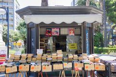 BARI, ITALY - JULY 11, 2018, sale of used books on the street, in front of Aldo More University stock image