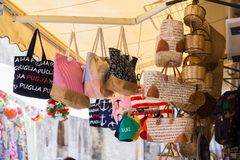 BARI, ITALY - JULY 11, 2018, Bari vecchia, traditional open market shops with souvenir for tourists stock photo