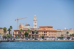 BARI, ITALY - JULY 11,2018, View of the Bari waterfront dominated by the Margherita theater and San Sabino Cathedral royalty free stock photo