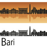 Bari skyline in orange background Stock Photo