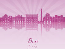Bari skyline in purple radiant orchid Royalty Free Stock Image