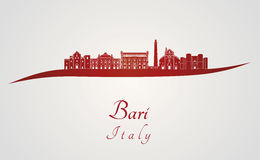 Bari skyline in red Stock Photos