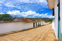 Barichara, Colombia and Blue Sky. Historic architecture in Barichara, Colombia with an interesting sky stock images