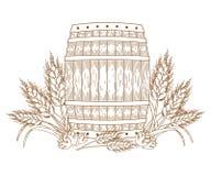 Baril avec des oreilles de blé Photo stock