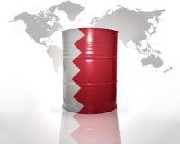 Baril avec le drapeau du Bahrain Photographie stock