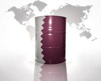 Baril avec le drapeau du Qatar Images stock