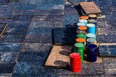 Baril, bleu, affaires, finances d'affaires et industrie, pétrole brut photographie stock libre de droits