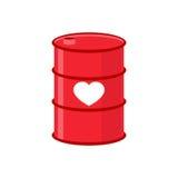Baril d'amour Baril rouge de fer avec le coeur Approvisionnement en amour Ele Photo stock