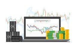 Baril de pétrole l'illustration de vecteur de diagramme des prix dans le style plat Graphique courant sur l'écran d'ordinateur po Image stock