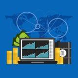 Baril de pétrole l'illustration de vecteur de diagramme des prix dans le style plat Illustration Libre de Droits