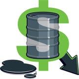 Baril de pétrole - prix vers le bas Photographie stock libre de droits