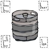 Baril en métal de bière Croquis de style de griffonnage de barillet de bière Illustration tirée par la main de vecteur Photographie stock