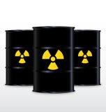 Baril noir avec le symbole radioactif jaune Images libres de droits