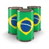 Barile da olio con la bandiera del Brasile Immagini Stock Libere da Diritti