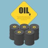 Barile da olio del metallo Olio, petrolio, vagone cisterna, autocisterna Affare di industria petrolifera Vettore infographic isom Immagine Stock Libera da Diritti