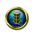 Barile da olio sull'icona del globo del mondo Immagini Stock
