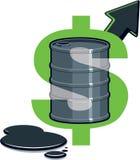 Barile di petrolio - prezzo in su Fotografia Stock