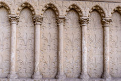 Barilefy architectural elements arches,Cathedral Notre-Dame de Paris - Built in French Gothic architecture Royalty Free Stock Photos