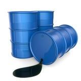 Barili da olio blu 3d rendono Immagini Stock
