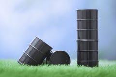 Barili da olio nel pascolo Immagine Stock