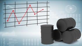 Barili da olio neri con il grafico dei cambiamenti di prezzi Fotografie Stock Libere da Diritti