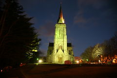 Bariloche Cathedral, Argentina. Night view of the brightly-lit Bariloche Cathedral in Argentina Stock Photography