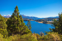 Bariloche landscape in Argentina. Lake in Nahuel Huapi National Park. It is located near the Bariloche city, Patagonia region in Argentina Stock Photo