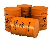 Barilotti con la sostanza di rischio biologico illustrazione di stock