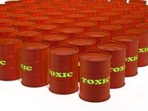 Barilotti del rifiuto tossico su fondo bianco Fotografia Stock