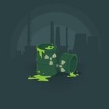 Barilotti delle sostanze tossiche Inquinamento la radiazione dell'ambiente Priorità bassa dell'illustrazione di vettore royalty illustrazione gratis