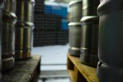 Barilotti di birra Fotografie Stock