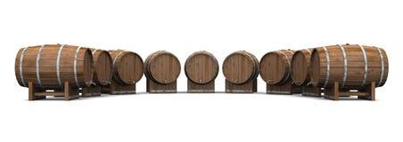 Barilotti di birra rotondi e 01 rotondi Fotografia Stock