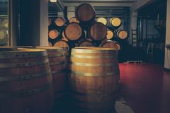 Barilotti di legno con vino in cantina scura fotografia stock