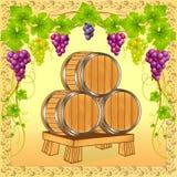 Barilotti di legno con vino sopra della vigna Fotografie Stock