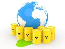 barilotti di simbolo di radiazione 3d e globo della terra Fotografie Stock