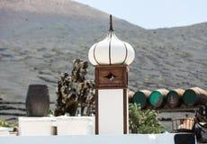Barilotti di vino sulle viti del fondo e sulle montagne, Lanzarote Immagine Stock