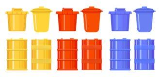 Barilotti e secchi nello stile del piano Icone variopinte Giallo, rosso, blu Metallo e recipienti di plastica per acqua, olio, im illustrazione di stock