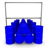 Barilotti e tabellone per le affissioni blu Fotografia Stock