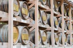 Barilotti giapponesi di vino avvolti in paglia impilata sullo scaffale Fotografia Stock Libera da Diritti