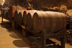 Barilotti nella cantina per vini Fotografia Stock Libera da Diritti