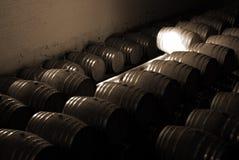 Barilotti nella cantina per vini Fotografie Stock