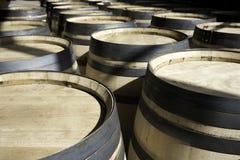Barilotti per vino impilato all'esterno nelle righe Immagine Stock