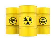 Barilotti radioattivi e tossici di rischio biologico, isolati illustrazione di stock