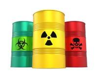 Barilotti radioattivi e tossici di rischio biologico, isolati royalty illustrazione gratis