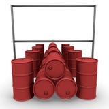 Barilotti rossi con il tabellone per le affissioni illustrazione di stock
