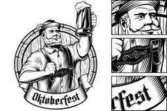 Barilotto bavarese Lager Foam Engraving di vetro di birra dell'uomo di Oktoberfest di vettore royalty illustrazione gratis
