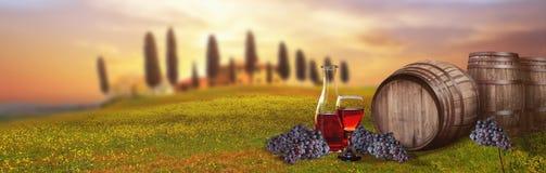 Barilotto del vino rosso contro paesaggio toscano Italia Fotografie Stock Libere da Diritti